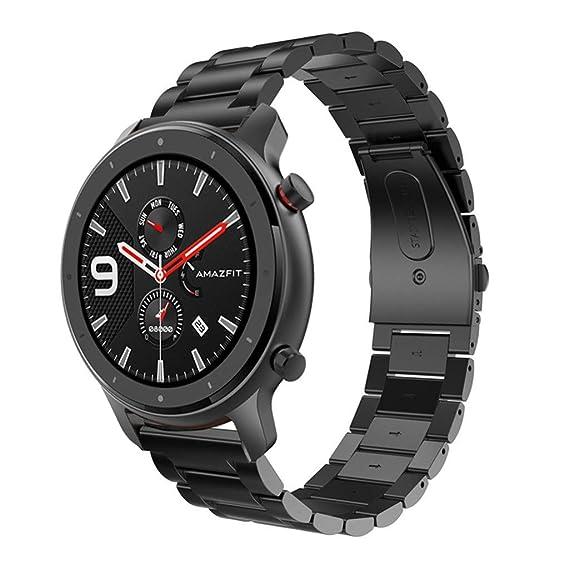 Siswong - Pulsera de Acero Inoxidable para amazfit GTR Smart Watch ...