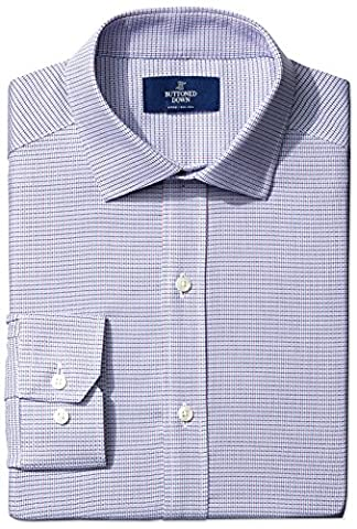 Buttoned Down Men's Fitted Spread-Collar Small Geo Non-Iron Dress Shirt, pink/blue, 16.5 34 (Geo Press)