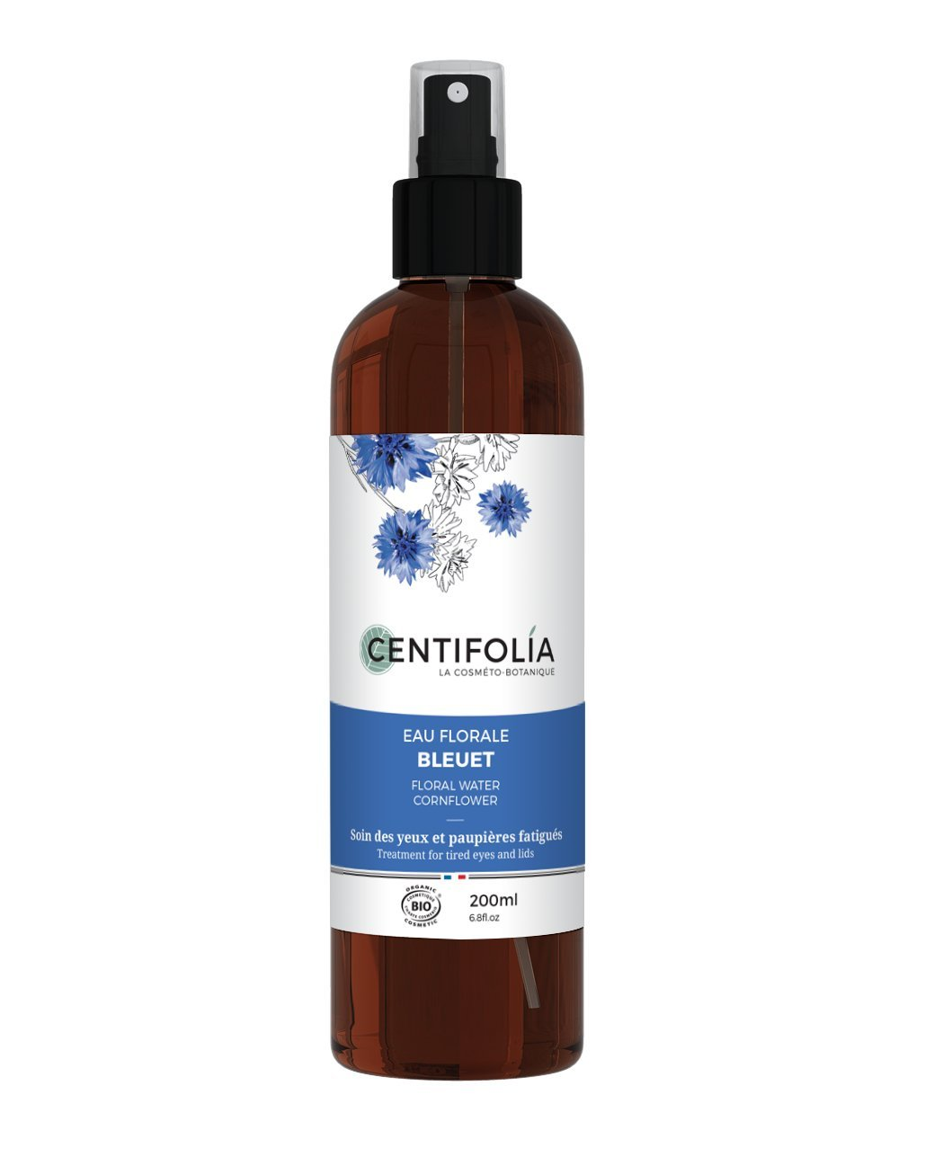 CENTIFOLIA - Cornflower Floral Water - Soothing care for Eyes and Eyelids - Also suitable for sensitive eyes - Deflates and Lights up - Organic Certified - 200 ml Yumi Bio Shop