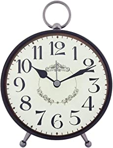 Konigswerk Vintage Loud Alarm Clock for Heavy Sleeper, Battery Operated Analog Alarm Clock Decorating Living Room Table Tabletop Desk Shelf (AC122G) (Black)