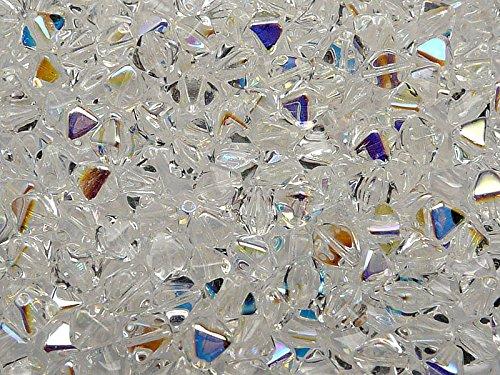 30pcs Czech Glass Pressed Bicone Lantern Beads 6mm, Crystal AB