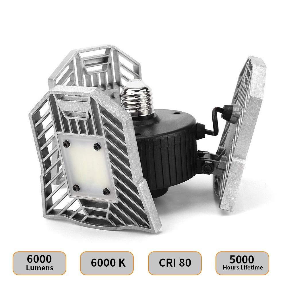 LED Garage Light Motion Detection - Motion Activated Aluminium LED - Best LED Light Bulb for Garage - 6000LM CRI Garage LED Lighting System - 3 Adjustable Panels - 2018 New Design LED Garage Lighting