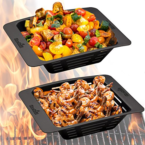 Char-Broil (2 Pack) Nonstick Grill Pan With Holes For Vegetables BBQ Outdoor Stovetop Basket