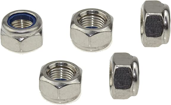 304 Stainless Steel Hex Nut Nylock Locknuts A2-70 5, M10-Fine Pitch 1.0