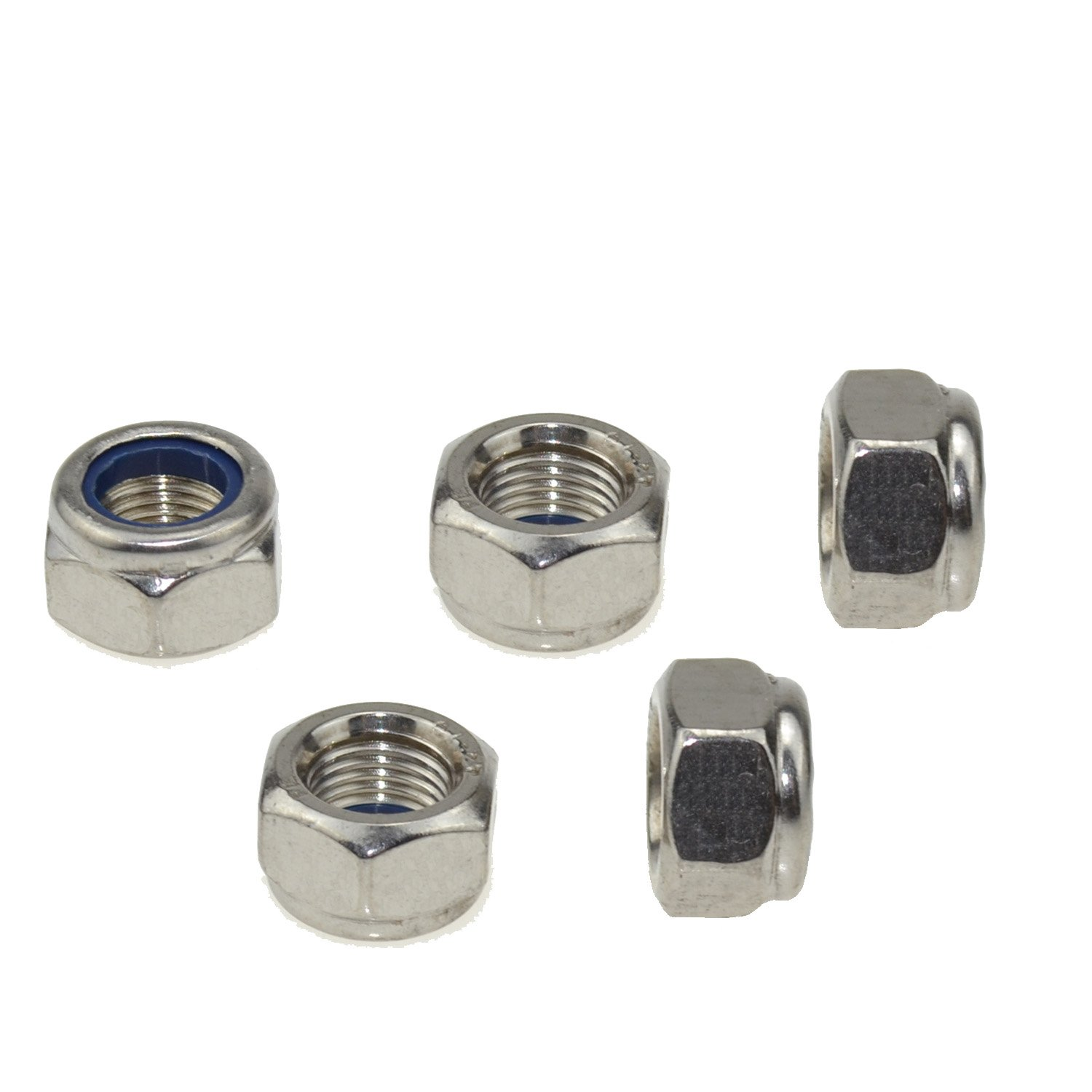 304 Stainless Steel Hex Nut Nylock Locknuts A2-70 (5, M12-Fine Pitch 1.25)