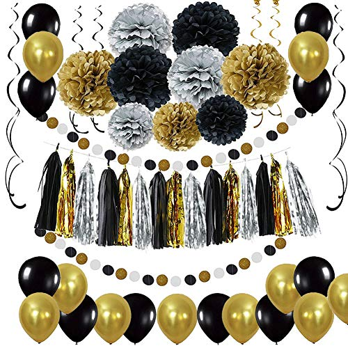 Black and Gold Party Decorations - DIY Tissue Paper Pom Poms Flowers, Tassel, Balloons, Hanging Swirl, Paper Circle Garland for Graduation and Retirement Party Decor -