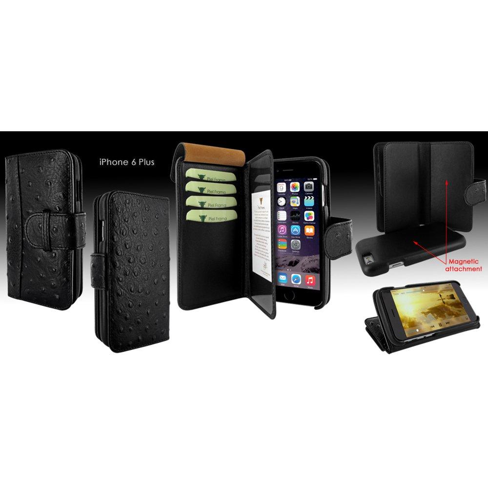 Piel Frama Wallet Case for Apple iPhone 6 Plus - Ostrich Black