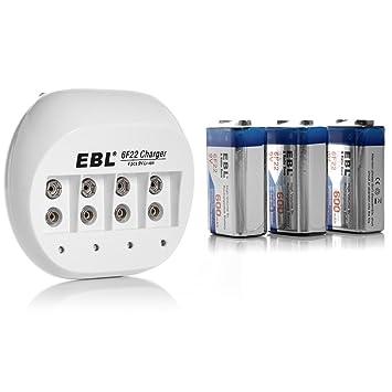 Amazon.com: EBL 855 4 Bay 9 V Li-Ion cargador de batería con ...