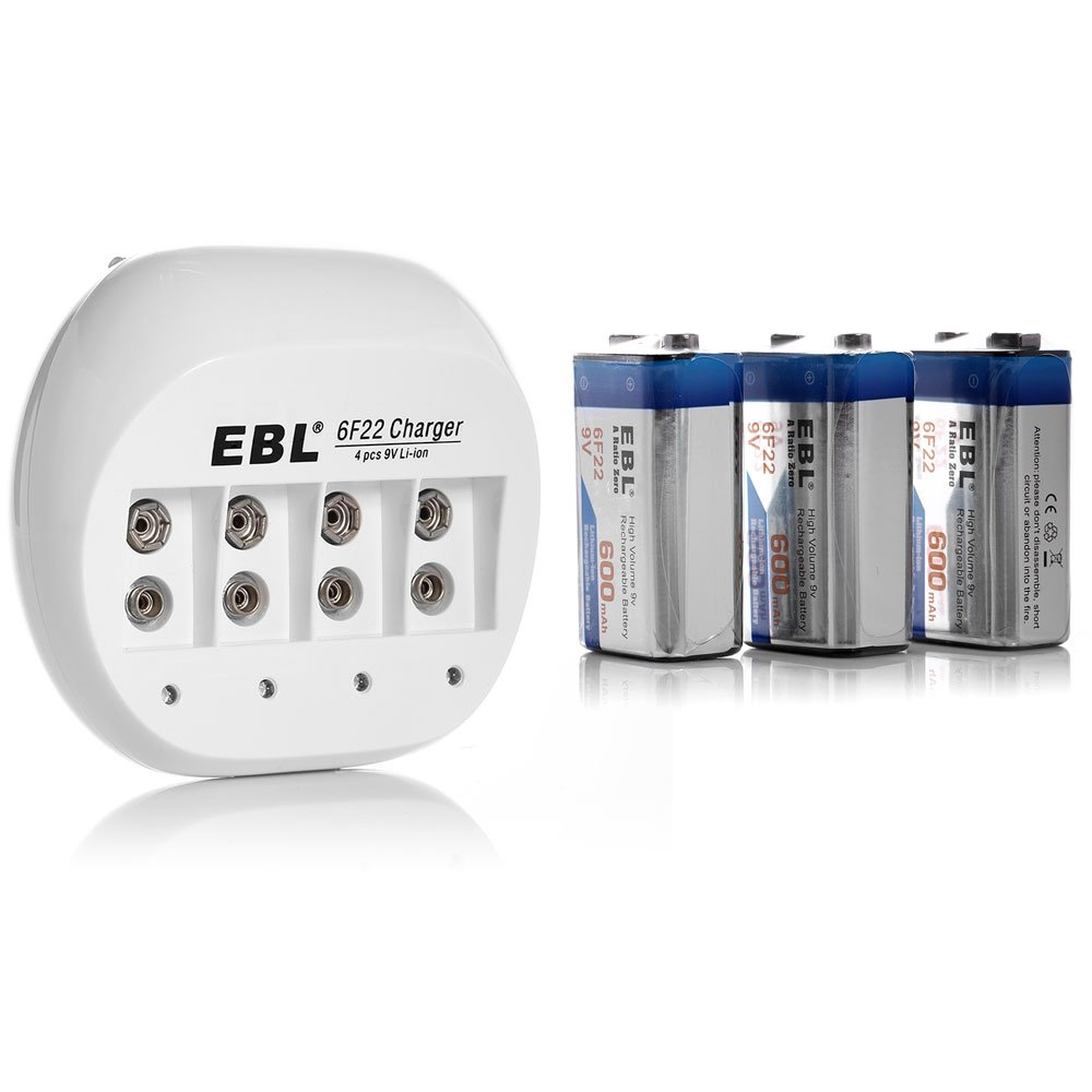 EBL 855 4 Bay 9V Li-ion Battery Charger with 3 Pack 600mAh 9 Volt 6F22 Low Self-Discharge Lithium-ion Rechargeable Batteries