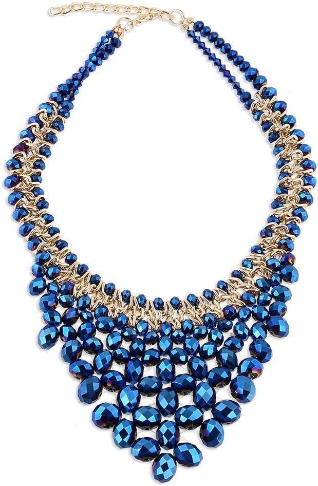 BHDCH Collar Collar de múltiples Capas con Cadena en Forma de V para Mujer en Tono de Aluminio y Cristal checo con Abalorios de Cristal Genial para Todos los dias (Color : Azul)