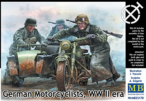 Master Box Models 1/35 German Motorcyclists, WWII Era - 4 Figure Set