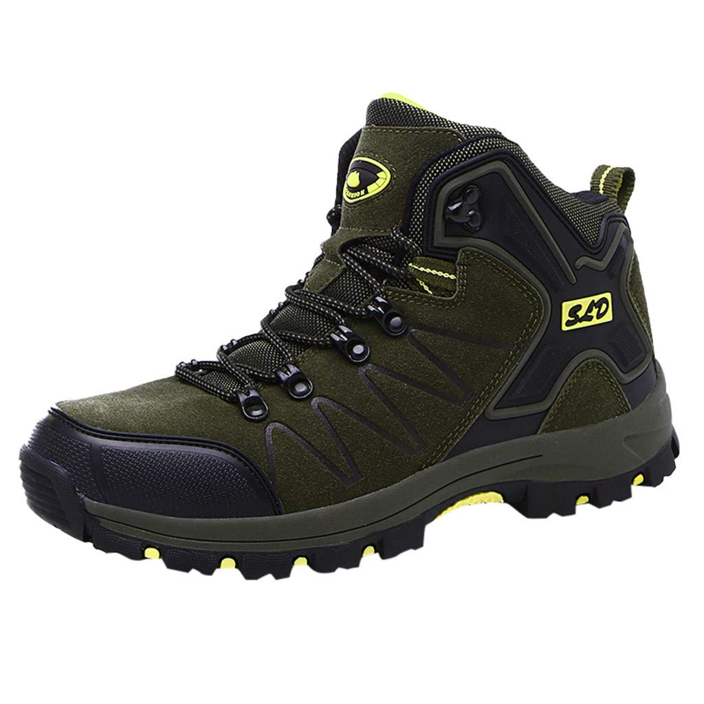 LBPSUUEW Hiking Boots for Men Waterproof Lace Up Ankle Booties Non Slip Outdoor Ridge Ledge Shoes Work Safety Boots Green