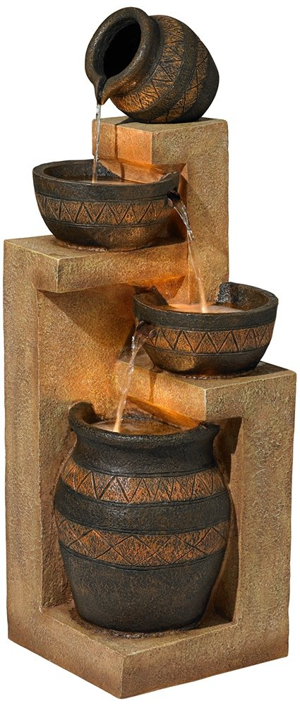 Stoneware Bowl and Jar Indoor-Outdoor 46'' High Fountain