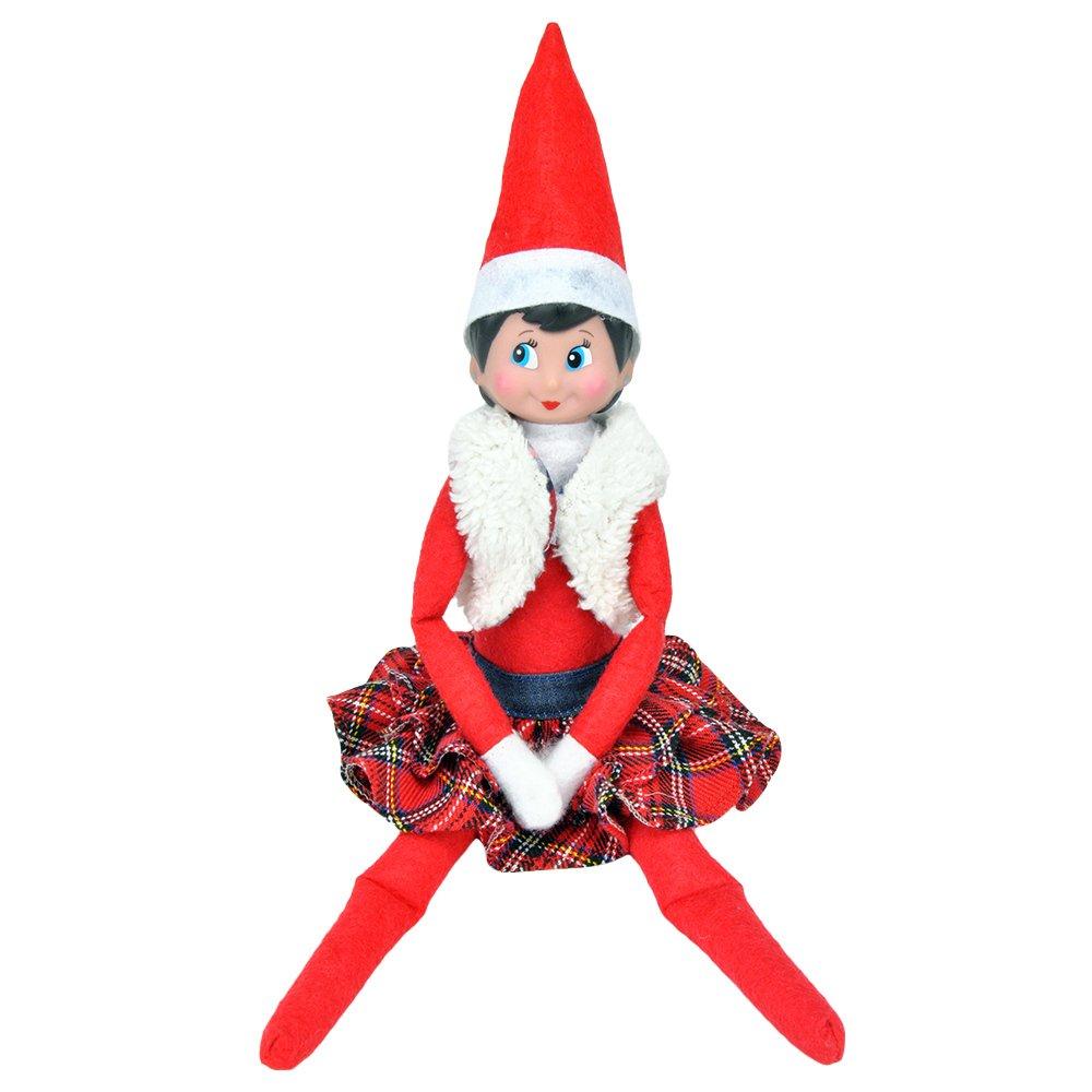 Elf On The Shelf Clothing Elf Girl Fluffy Vest Plaid