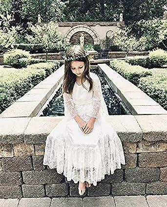 CQDY Abiti da Ragazza con Fiore Bianco Abiti da Sposa Ragazza Abiti da Damigella dOnore Festa Principessa Prom Abito da Battesimo Avorio