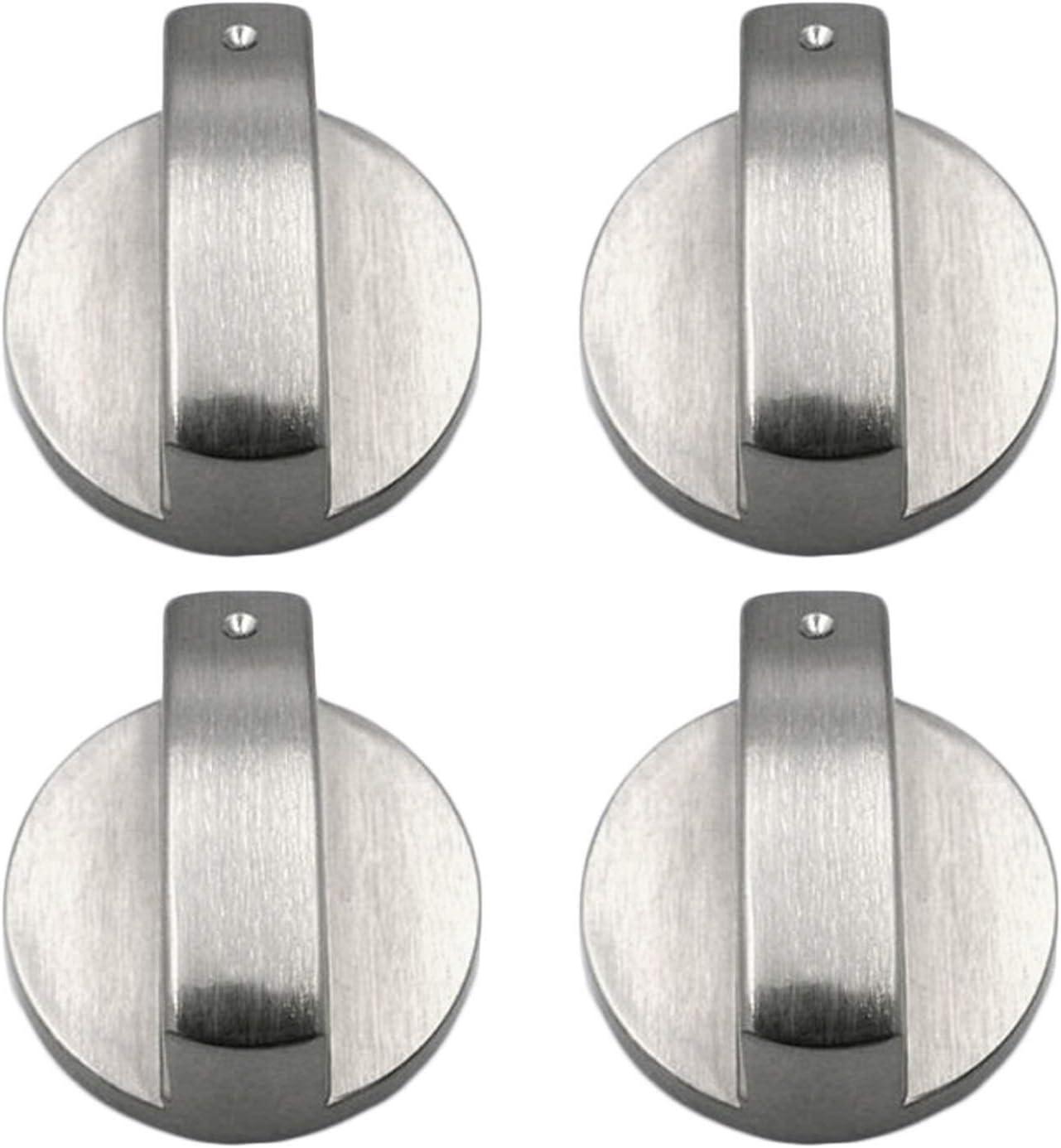 xutong - Juego de 4 perillas de Metal para Estufa de Gas, 6 mm, Color Plateado