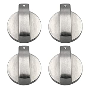 Gas Stove Knob, 4 PCS Metal 6mm Silver Gas Stove Control Knobs Adaptors Oven Switch Cooking Surface Control Locks