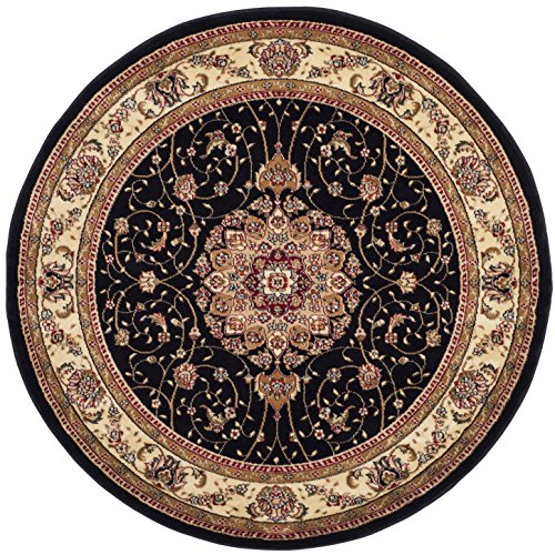 Safavieh Lyndhurst Collection LNH329A Traditional Medallion Black and Ivory Round Area Rug (7' Diameter) by Safavieh