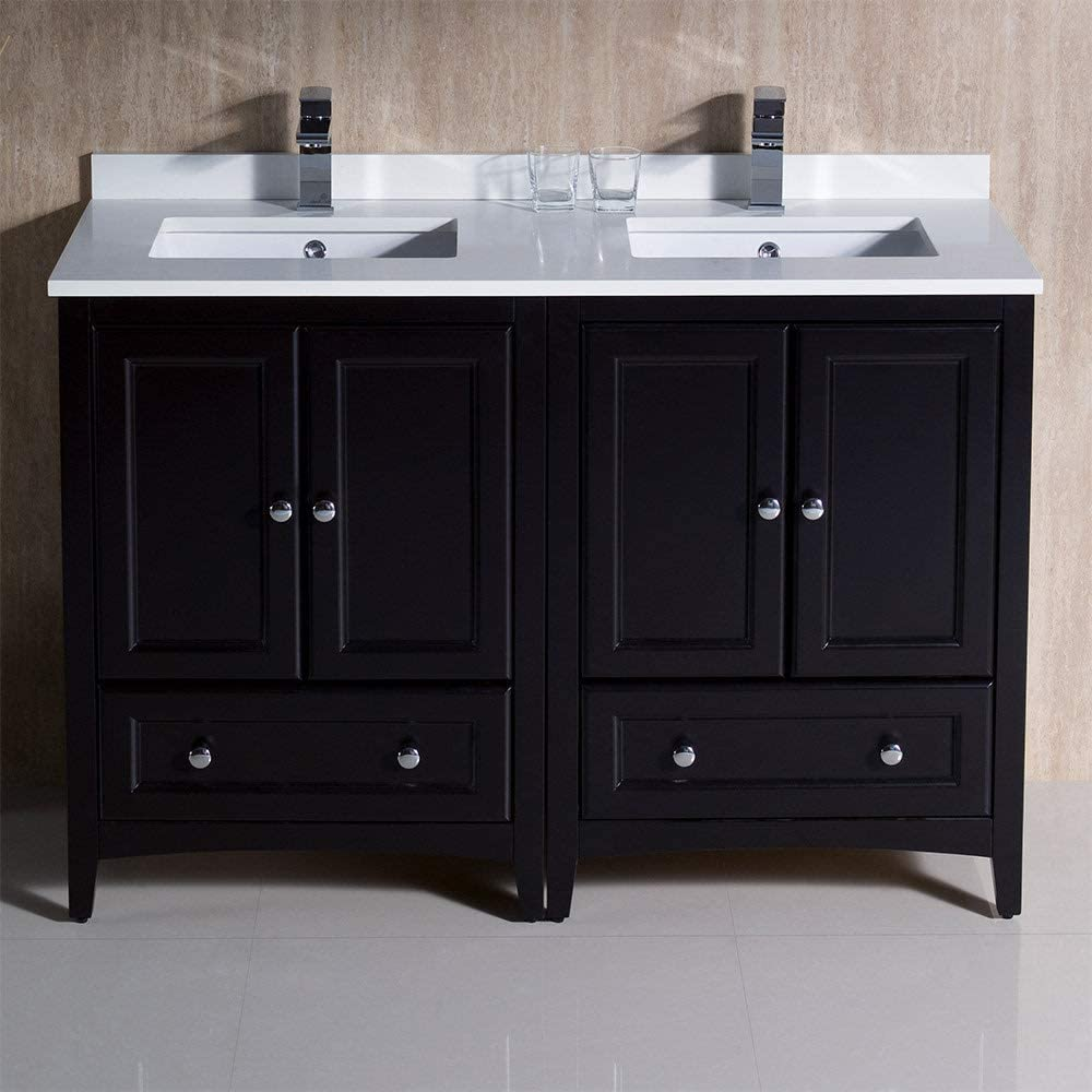 Renewed Fresca Oxford 48 Antique White Traditional Double Sink Bathroom Cabinets with Top and Sinks