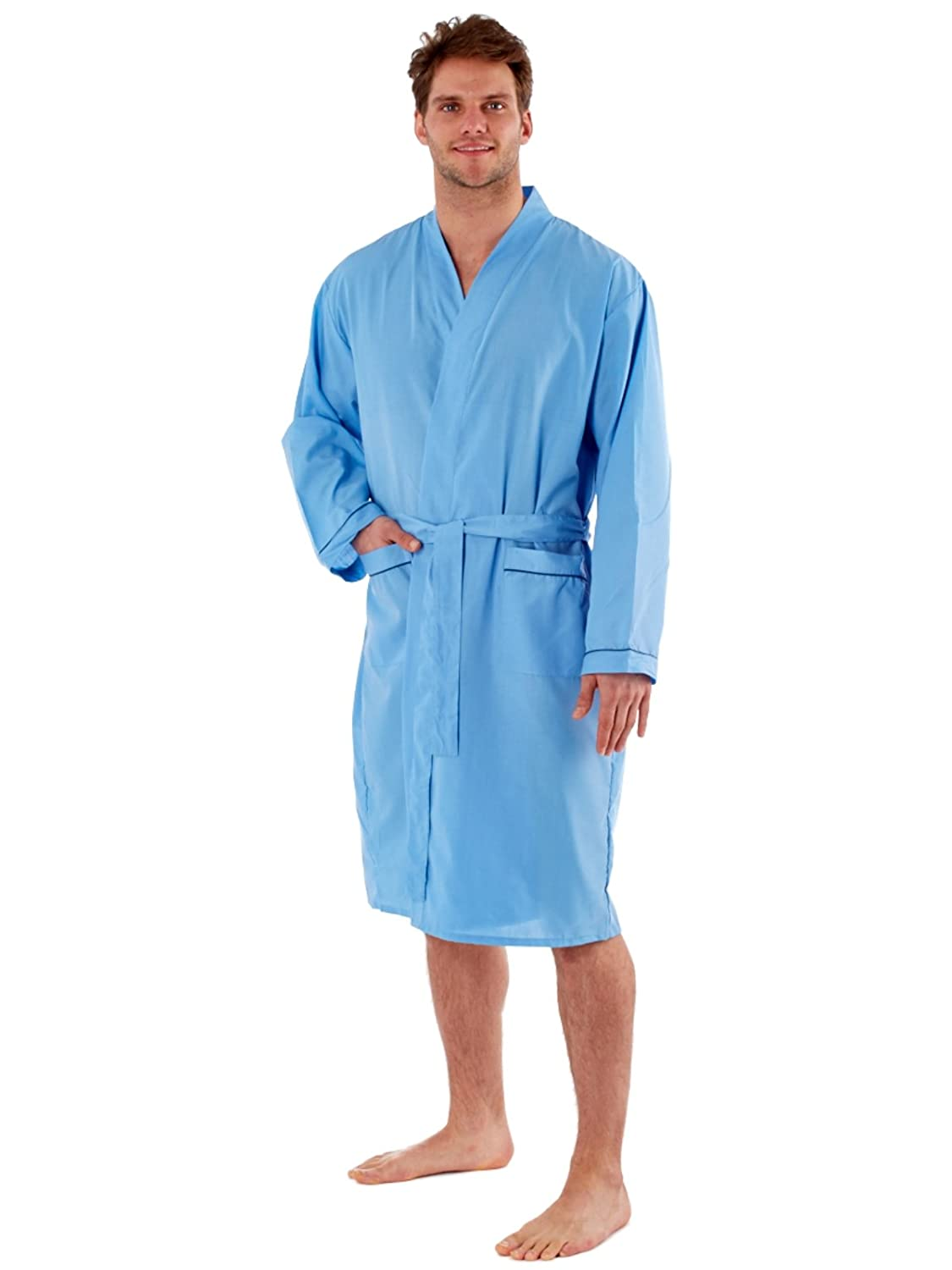 Harvey James Mens Dressing Gowns Robes Wrap Loungewear Lighweight Poly Cotton Gowns M - XXL
