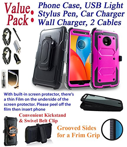 Value Pack Cables + for 5'' Motorola MOTO E4 motoe4 case Phone Case 360° Cover Screen Protector Clip Holster Kick Stand Armor Shock Bumper (Peach Black) by 6goodeals