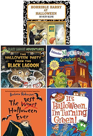 Awesome Five Book Halloween Paperback Set for Mid Elementary Age Readers Includes the Best Halloween Ever, Horrible Harry At Halloween, It's Halloween I'm Turning Green, Calendar Mysteries October Ogre & the Halloween Party From the Black Lagoon -