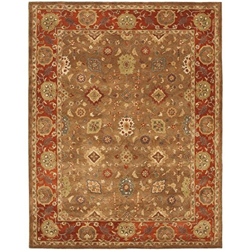 Safavieh Heritage Collection HG952A Handcrafted Traditional Oriental Moss and Rust Wool Area Rug 3 x 5