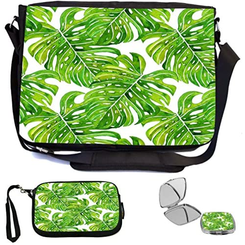 Rikki Knight Green Tropical Forest Leaves Large Illustrated Design Design COMBO Multifunction Messenger Laptop Bag - with padded insert for School or Work - includes Wristlet & Mirror