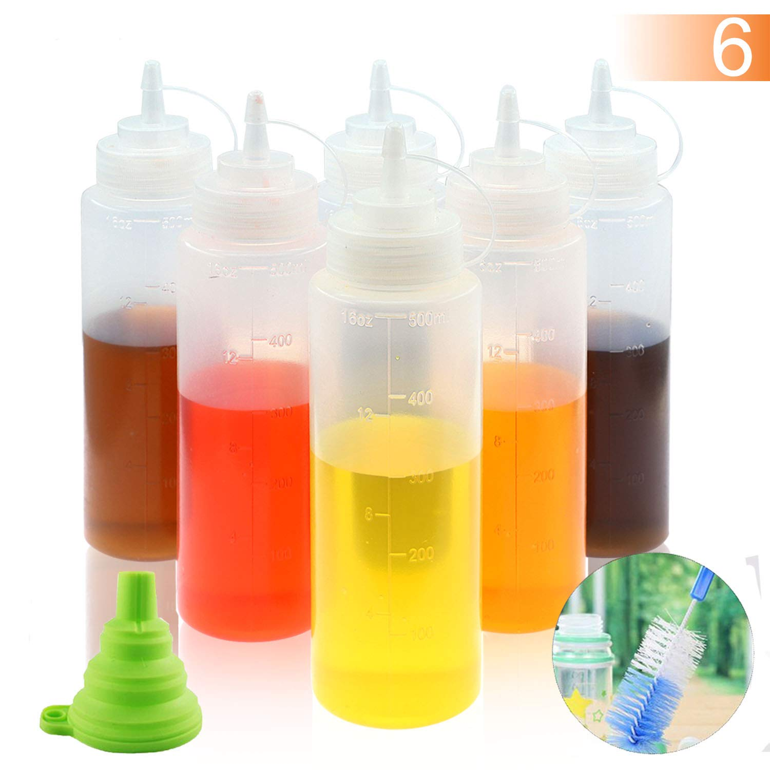 BAKHUK 6Pcs 16oz Plastic Clear Squeeze Condiment Bottle With Silicone Collapsible Funnel and Brush