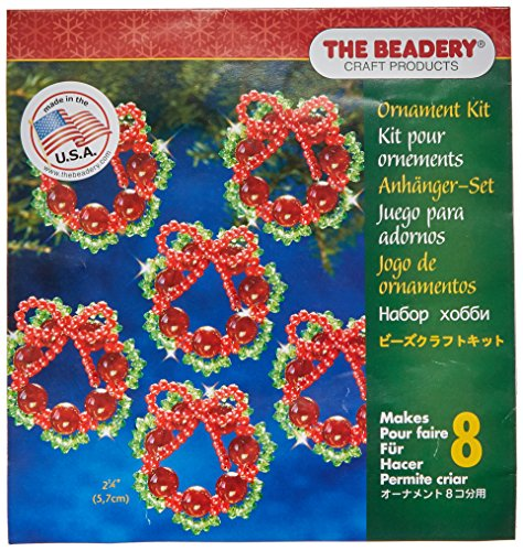 Make Christmas Crafts - Beadery Holiday Beaded Ornament Kit, 2.25-Inch, Cranberry Wreath, Makes 8 Ornaments