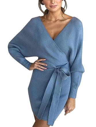 99c1fe4012b ORANDESIGNE Femme Elégant Robe Pull Tricoté Col V Croisé Manche Longue Robe  Crayon avec Ceinture Bleu