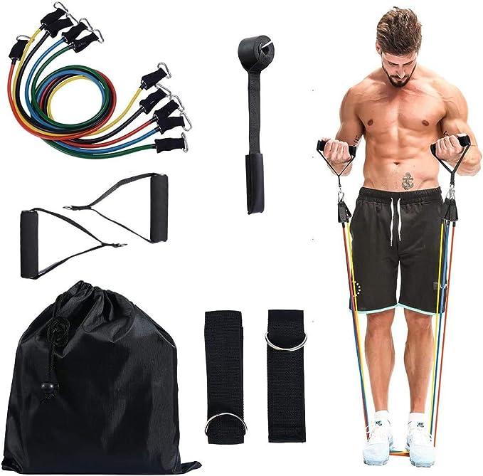 N/A 150 lbs Bandas Yoga de Resistencia,Cuerda de Resistencia de Látex de Caucho Natural, Cuerda Elástica Multicolor Kit de Gym para ...