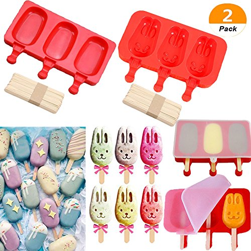 LQQDD Silicone Easy Cream Mini Ice Cream Bar Mold Set, Ice Pop Mold Oval and Cute Ice Cream Bar Mold Bunny Ice Cream with Lid,3 Cavities (Set of (Bunny Cake Mold)