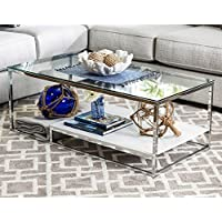 Home Deitie Modern Chrome Coffee Table Glass Living Room Chrome and White
