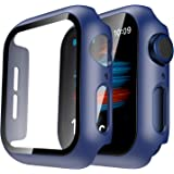 Tauri 2 Pack Hard Case Compatible for Apple Watch SE Series 6 5 4 44mm Built in 9H Tempered Glass Screen Protector Slim Bumpe
