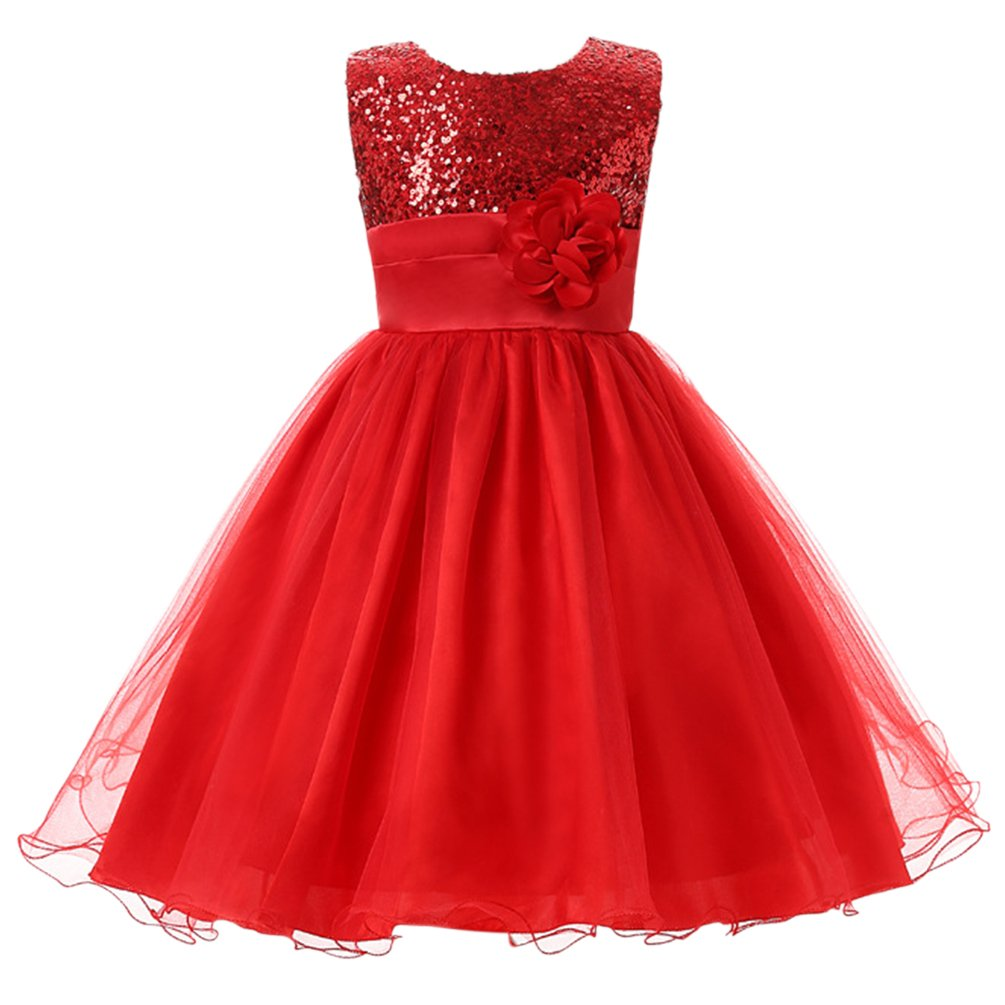 Csbks Little Girls Flower Sequin Princess Tulle Party Dress Birthday Ball Gowns