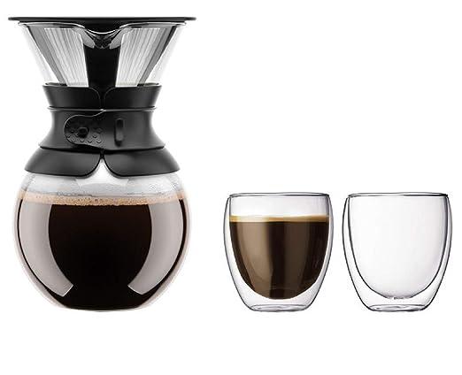 Bodum Pour Over Cafetera con filtro permanente, 1 L, 34 oz, banda ...