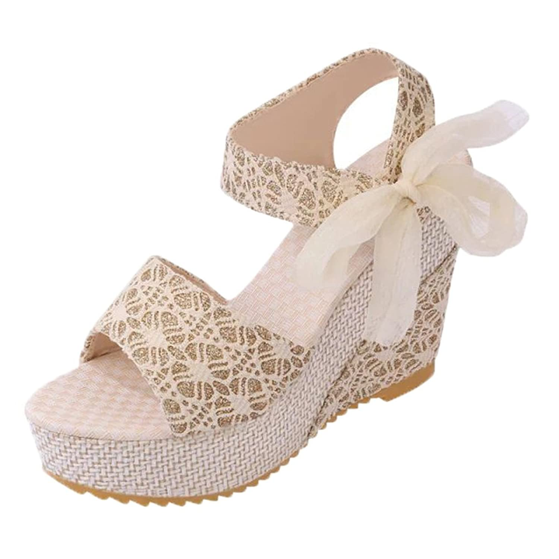 Minetom Sandalias con Cuña Mujer Verano Dulce Encaje Arco Peep Toe Zapatos