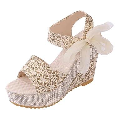 apariencia elegante más de moda venta limitada Minetom Sandalias con Cuña Mujer Verano Dulce Encaje Arco Peep Toe Zapatos  Chancletas Zapatillas Playa Boda