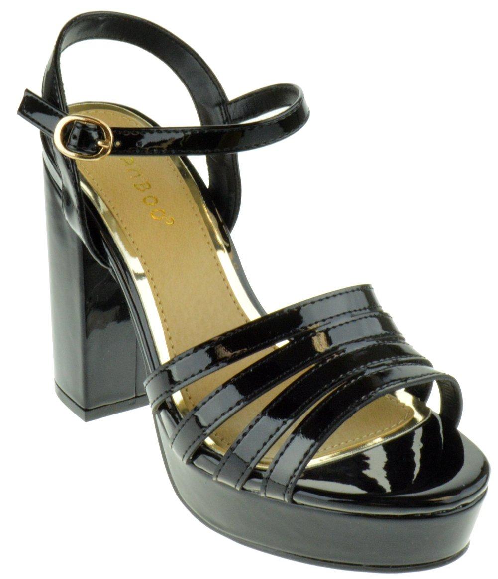 Bamboo Current 12s Womens Chunky Heel Platform Sandals B07DFR6ZND 10 B(M) US Black
