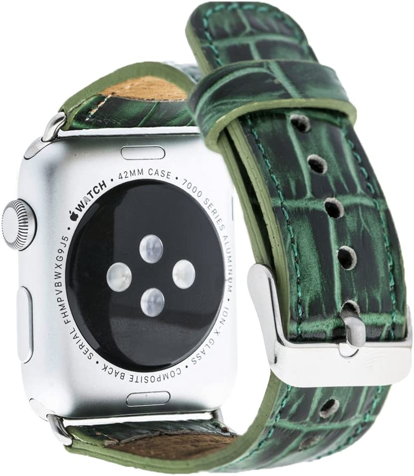 """Solo Pelle Apple Watch Series 1/2/3"""" Watch Leather Bracelet Watch Band in Green with Crocodile embossing & Matching Watch Adapter Connector Replacement Strap (38mm/Silver Colored Connector)"""
