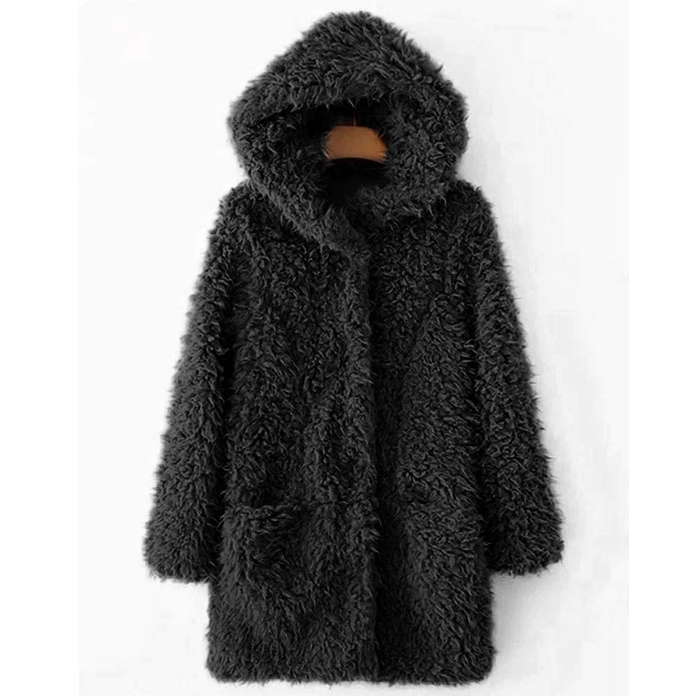 HuaMore Womens Ladies Warm Artificial Wool Coat Jacket Lapel Winter Outerwear