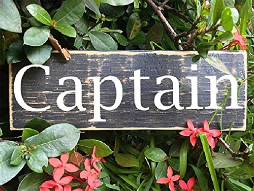 Pilot Wood Sign - Captain (Choose Color) Rustic Shabby Chic Sailor Boat Pilot Sign