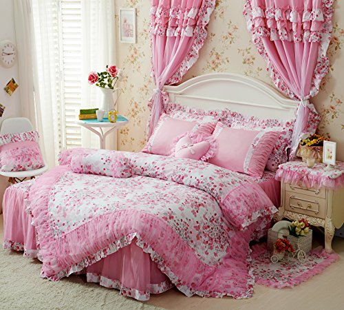 Romantic Ruffle Duvet Cover Bedding Set Vintage French Floral Bloom Teen Girls Lace Ruffled Cotton 4pc Queen Cherry Pink - Shabby Pink Cottage