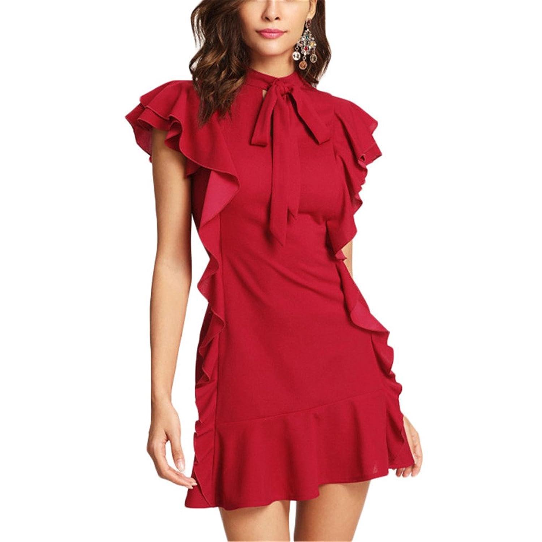 Frauen Party Kleid Volant Verziert Gebunden Neck Kleid Rote Krawatte ...