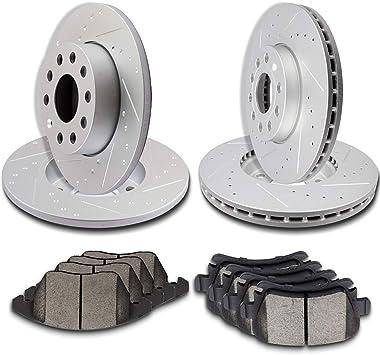 Full Kit Drilled Slotted Brake Rotors and Ceramic Pad 2008-2009 Volkswagen Jetta