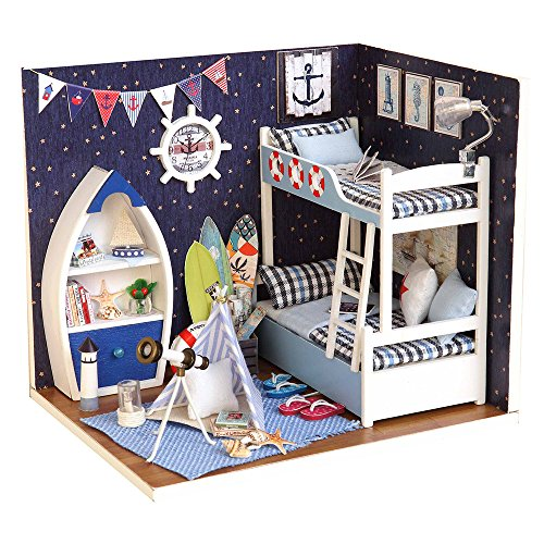 Spilay DIY Miniature Dollhouse Wooden Furniture Kit,Handmade Mini Home Model with Dust Cover,1:24 Scale Creative Doll House Toys for Children Birthday Gift(Face the Sky) H011