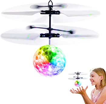 Betheaces Rechargeable Light Up Ball Flying Drone RC Toy