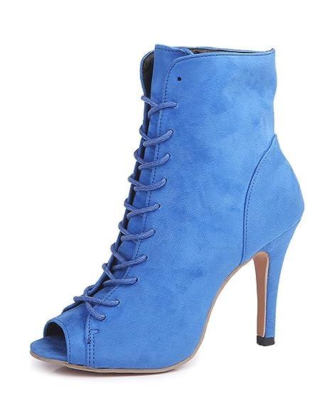 2a304ca1 Minetom Mujer Verano Sandalias de Tacón Alto Moda Gamuza Abierto Peep Toe  Zapatos De Fiesta Oficina Talla Grande Botas Botines de Encaje hasta