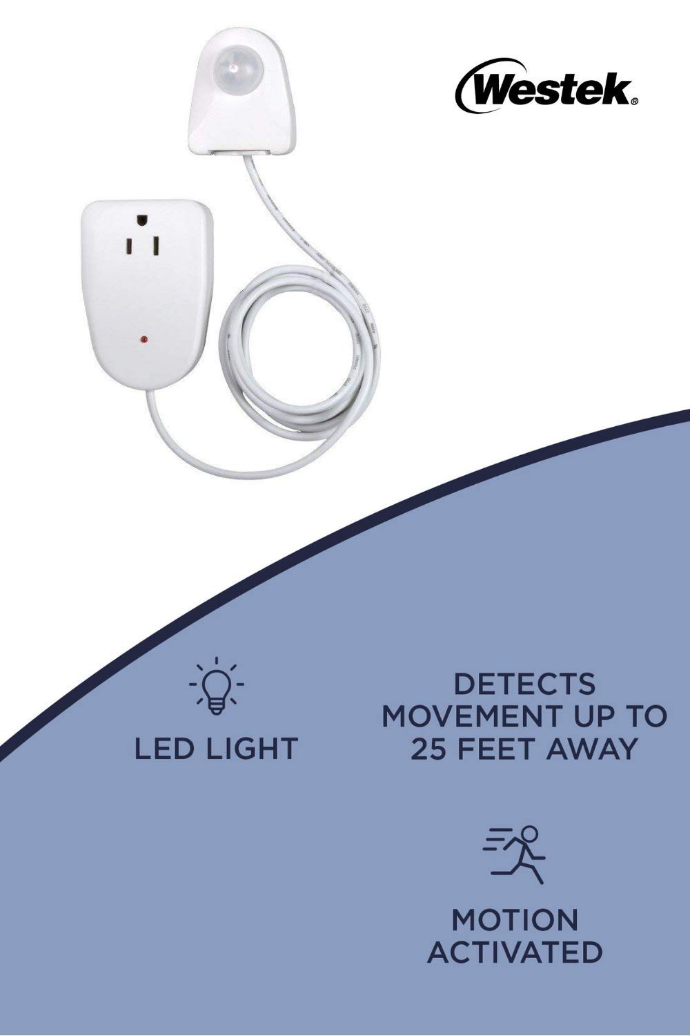 Motion Activated Light Control – Outlet Plug-in Device Turns On Your Indoor Lamp Lights When Movement Is Detected – LED Compatible, Ideal For Dark Rooms, Hallways – 25ft Detection, 6 Foot Cord by WESTEK (Image #2)